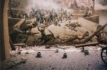 Bitva o Prahu proti Švédom na karlovom moste. (maľba na stene a pred tým naaranžované nejaké haraburdy)